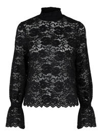 PIECES blouse PCEMILY met kant zwart, Zwart