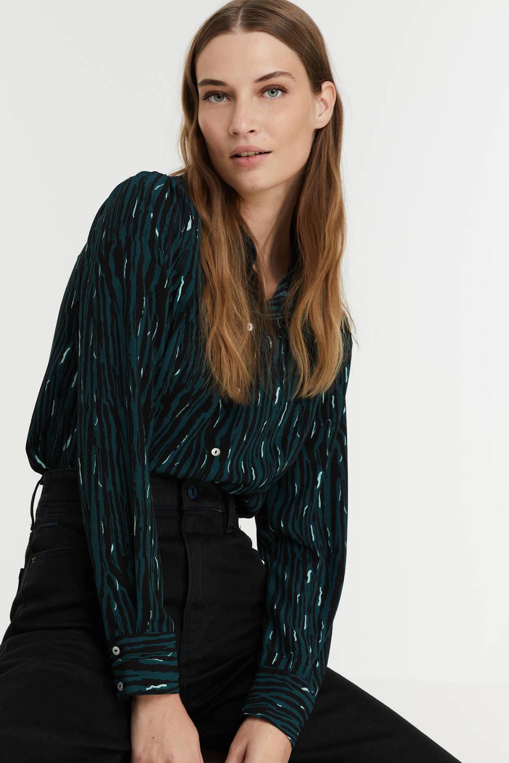 VERO MODA blouse VMSAGA van gerecycled polyester groen, Groen