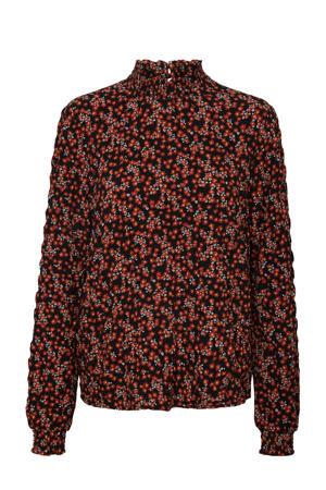 blouse VMSALINA van gerecycled polyester rood/zwart