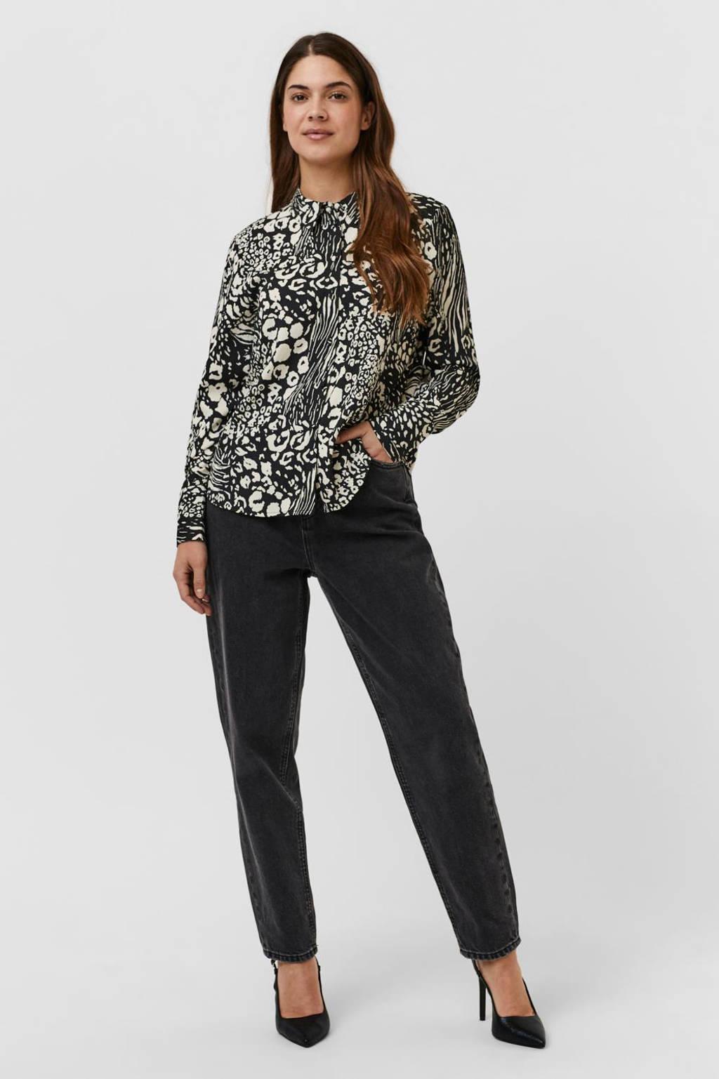 VERO MODA blouse VMCAIA van gerecycled polyester zwart/ecru, Zwart/ecru