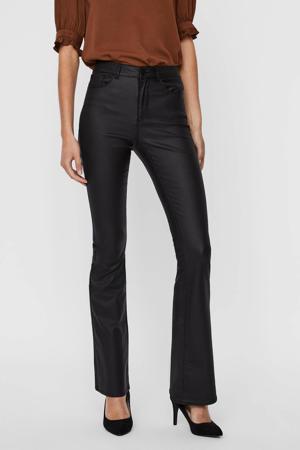 coated high waist flared broek VMSIGA zwart