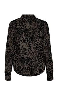 VERO MODA blouse VMCAIA van gerecycled polyester bruin/zwart, Bruin/zwart