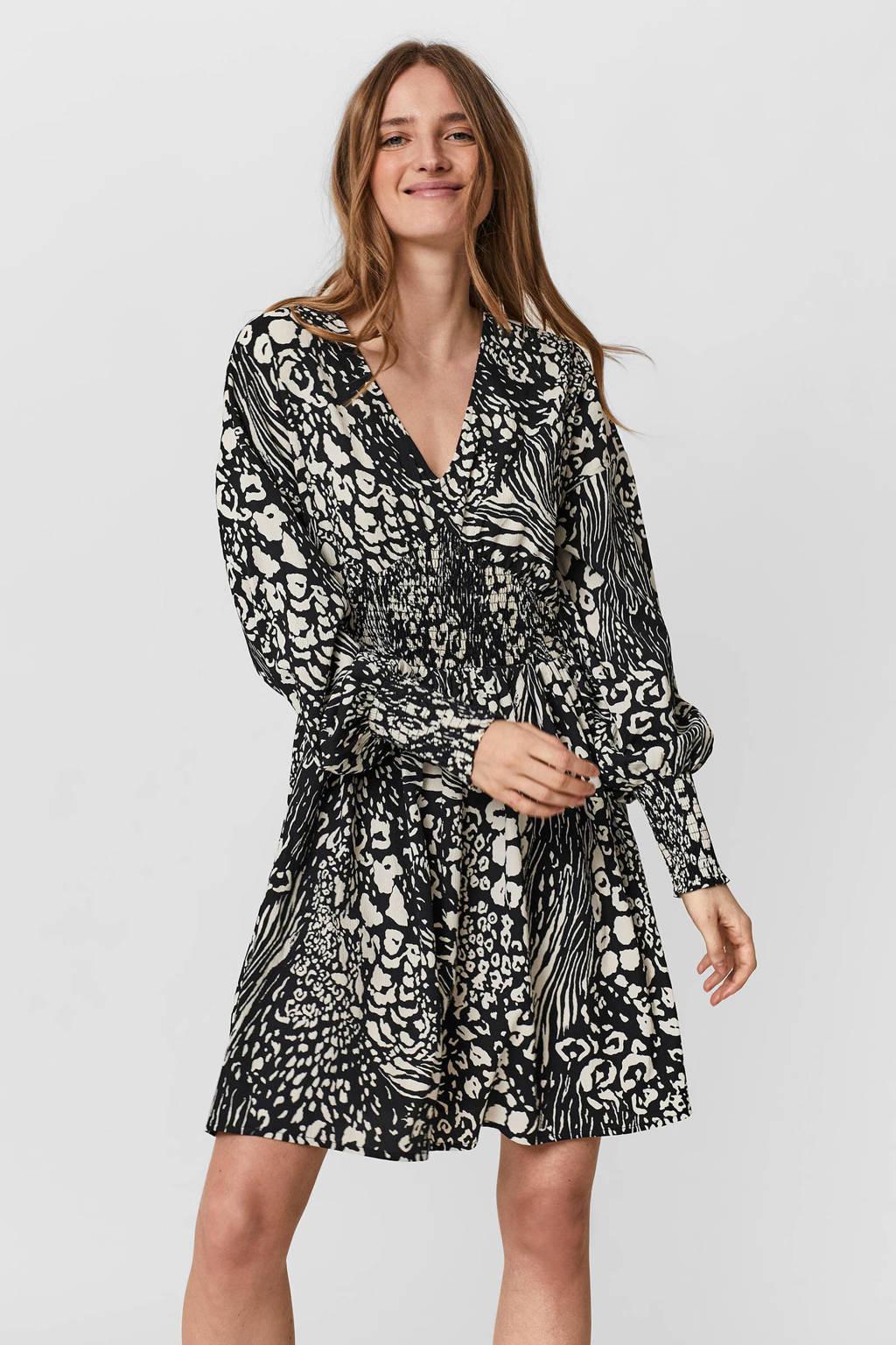 VERO MODA A-lijn jurk VMCAIA van gerecycled polyester zwart/ecru, Zwart/ecru