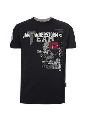 T-shirt SÖLVE Plus Size met tekst en 3D applicatie zwart