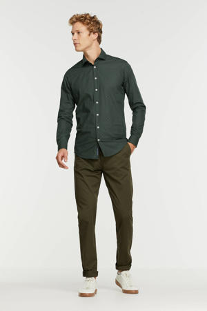 slim fit overhemd met all over print green