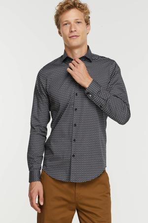 slim fit overhemd met all over print navy