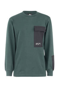 Shoeby Jill & Mitch sweater Eddy donkergroen/zwart, Donkergroen/zwart