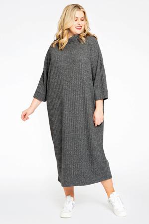 ribgebreide jurk RIB grijs