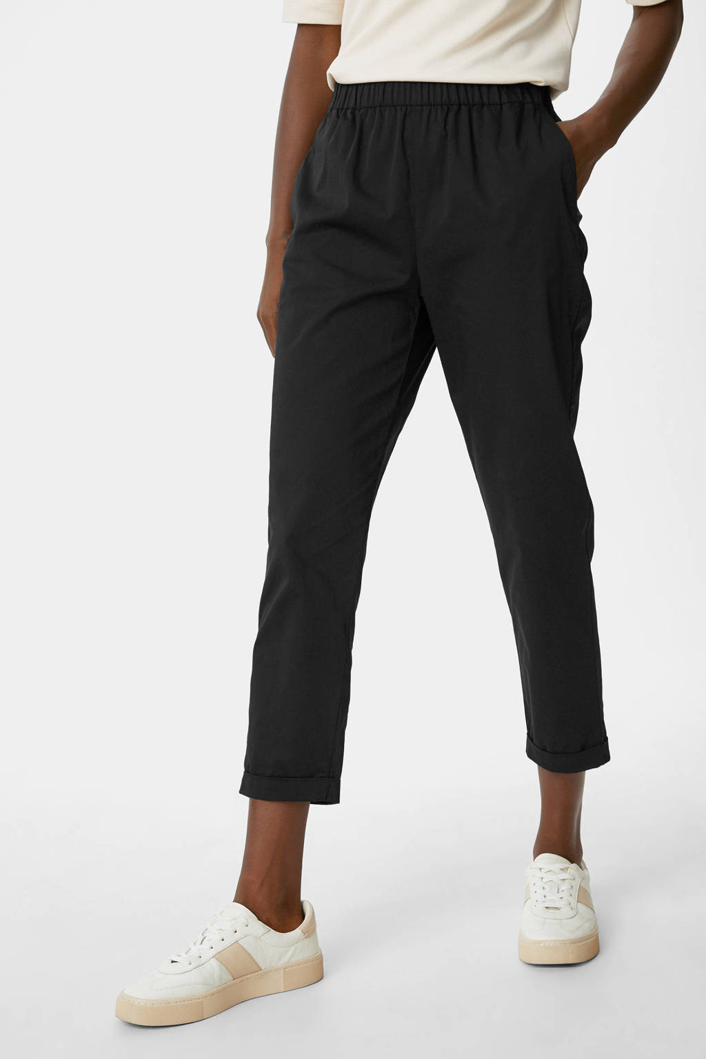 C&A slim fit broek zwart, Zwart