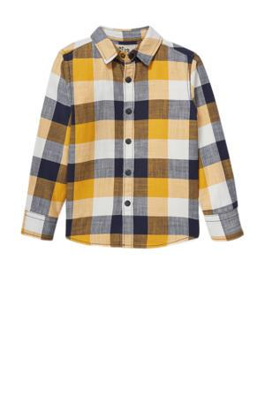 geruit overhemd met biologisch katoen geel/blauw/wit