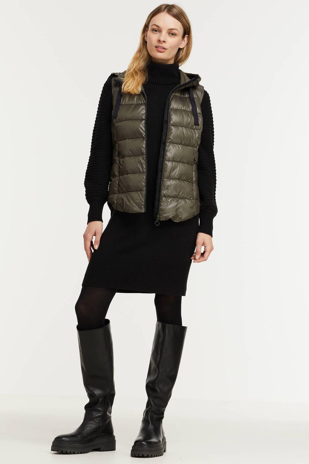 ESPRIT Women Casual bodywarmer van gerecycled polyester donkergroen/zwart, Donkergroen/zwart