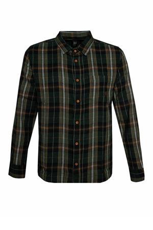 geruit regular fit overhemd Timetoa 21 groen
