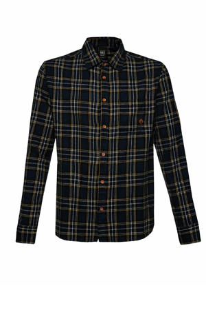 geruit regular fit overhemd Timetoa 21 donkerblauw