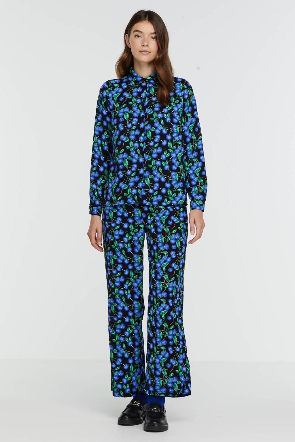 SisterS Point blouse Elba-sh2 met all over print zwart/blauw, Zwart/blauw