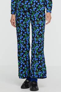 SisterS Point wide leg palazzo broek Ella-pa9 met all over print zwart/blauw, Zwart/blauw