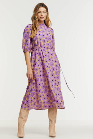 gebloemde jurk Ventia-dr paars