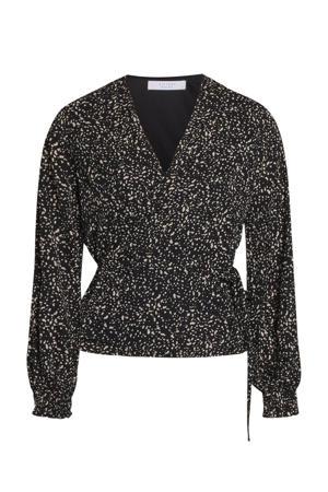 blouse Gobbi-t met all over print zwart
