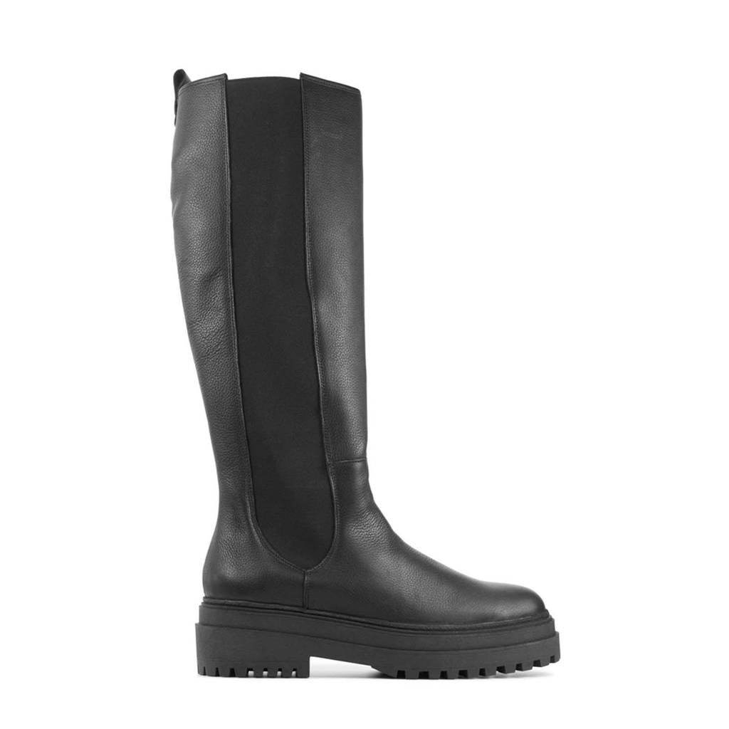 Red Rag 71204  hoge leren chelsea boots zwart, Zwart