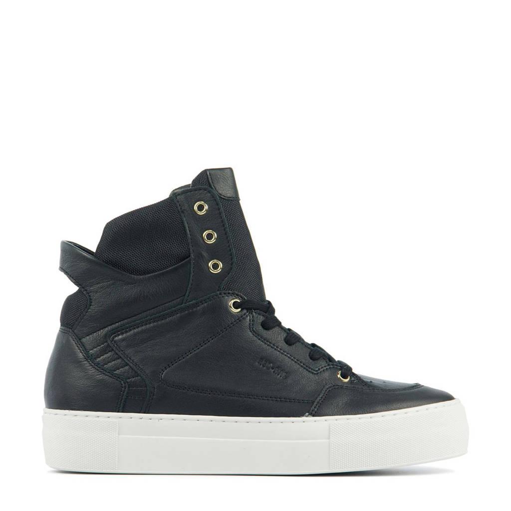 Red Rag 74466  hoge leren sneakers zwart, Zwart