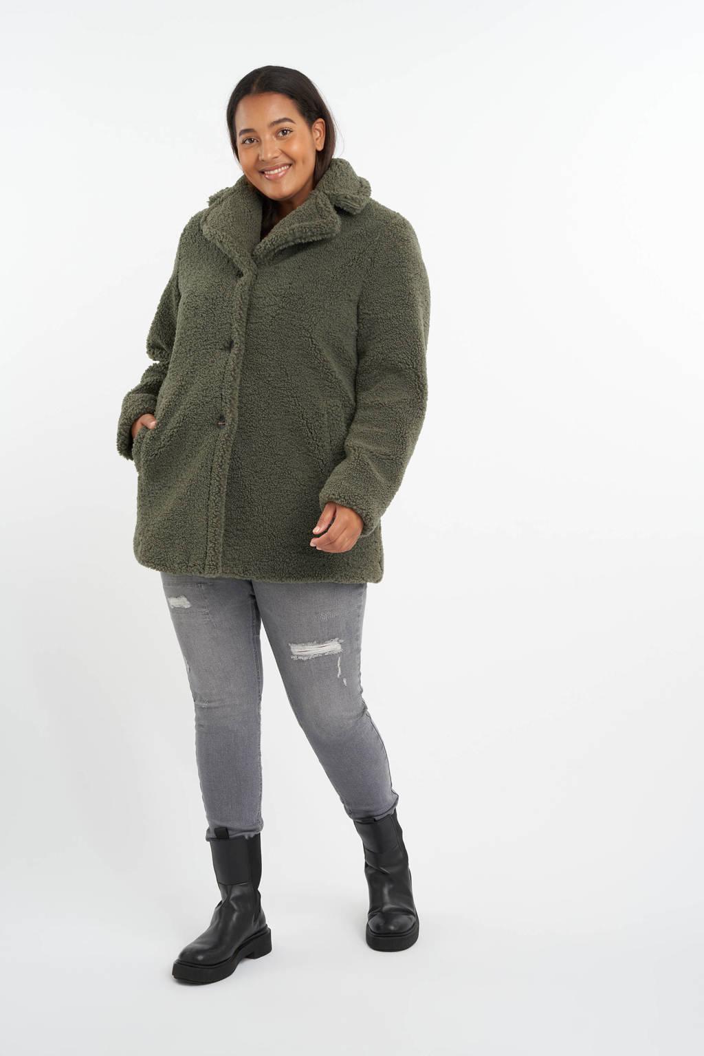 MS Mode teddy winterjas kaki, Kaki