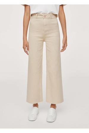 high waist wideleg broek beige
