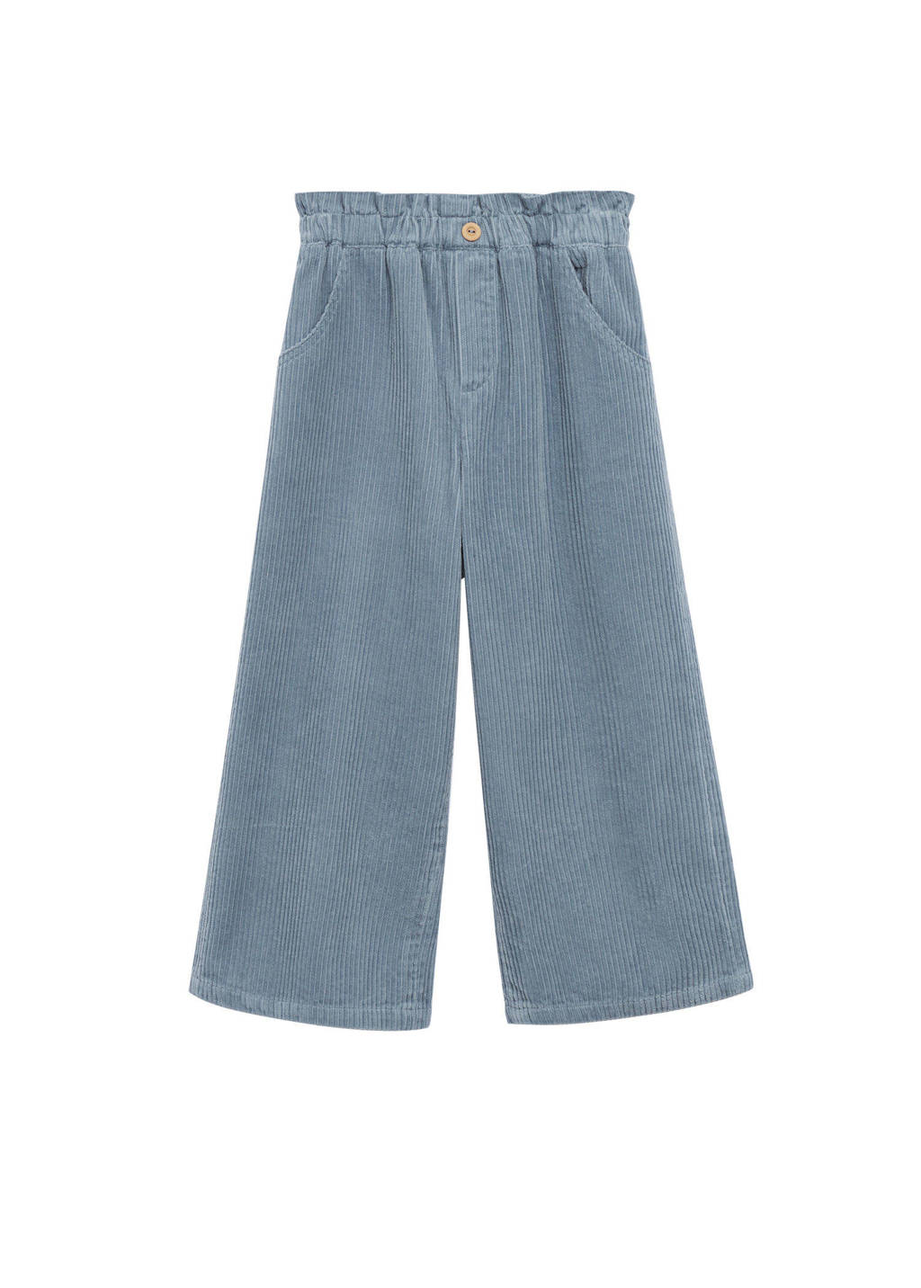 Mango Kids corduroy wide leg broek middenblauw