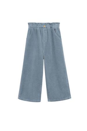 corduroy wide leg broek middenblauw