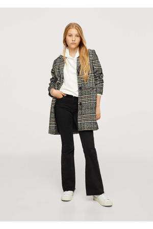 geruite jas van gerecycled polyester zwart