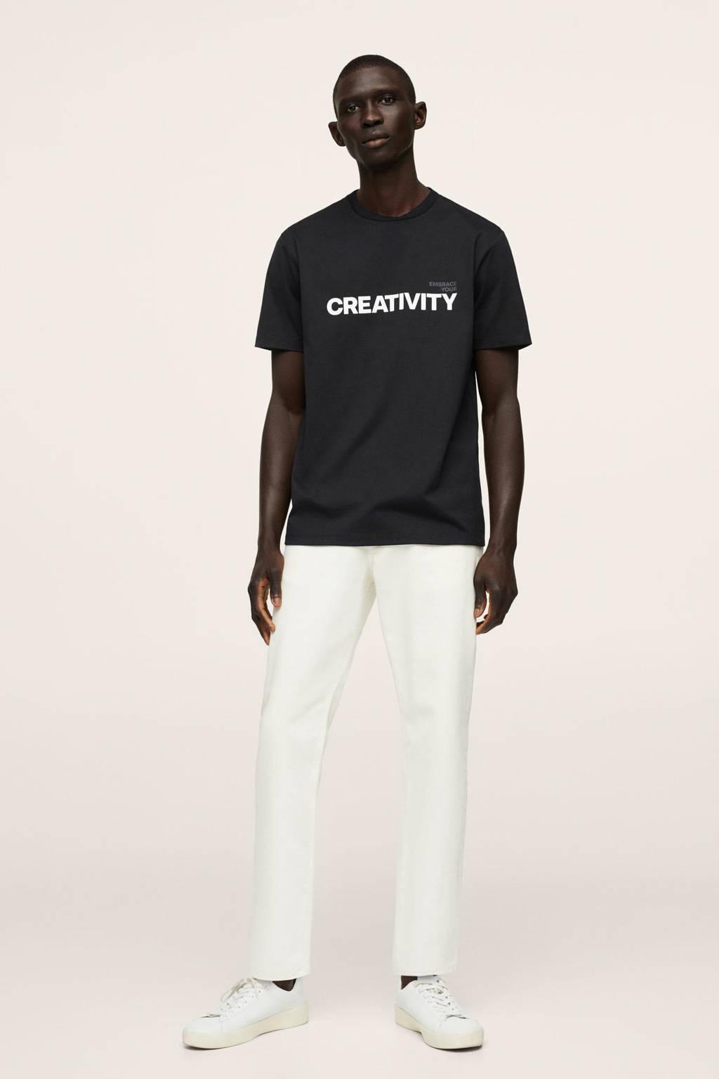 Mango Man regular fit T-shirt met printopdruk zwart, Zwart