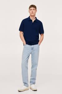 Mango Man regular fit polo met textuur middenblauw