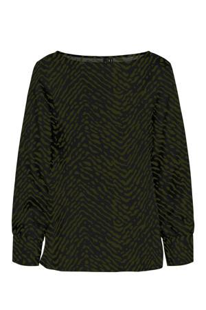top VMISA met all over print zwart/groen