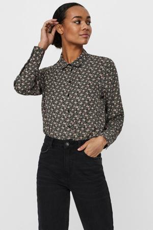 blouse VMISA met all over print zwart/groen/roze