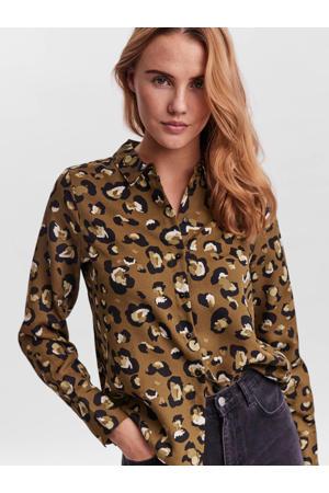 blouse VMISA met all over print groen/zwart