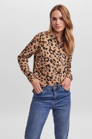 blouse VMISA met all over print lichtbruin/zwart