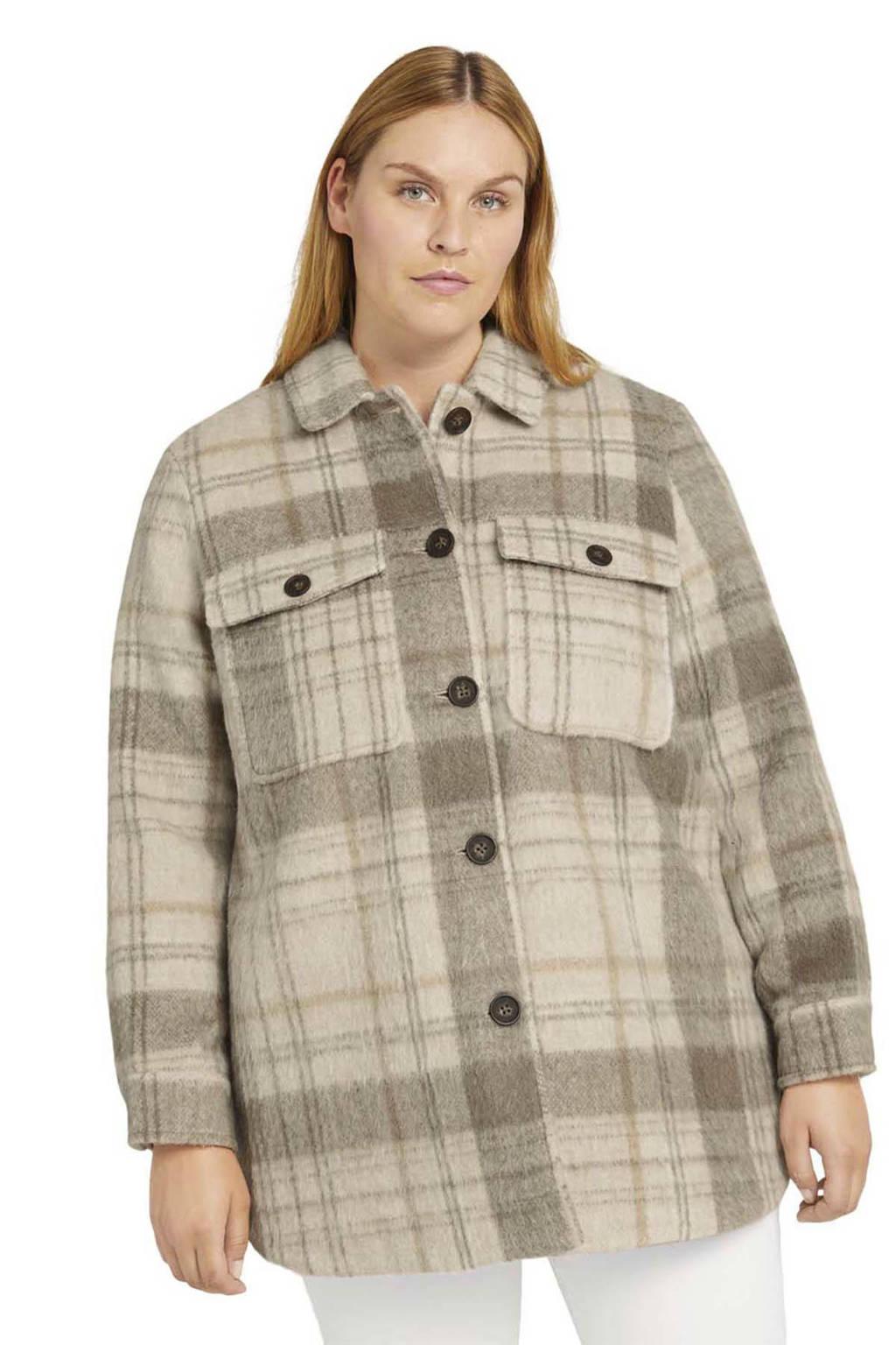 Tom Tailor My True Me geruite shacket beige/grijs/bruin, Beige/Grijs/Bruin