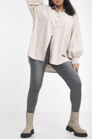 corduroy blouse met volant ecru