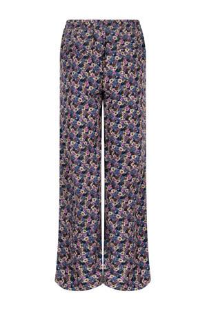 gebloemde high waist wide leg palazzo broek Pants Debbie blauw
