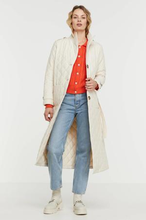 gewatteerde jas Coat Flora met ceintuur winter white
