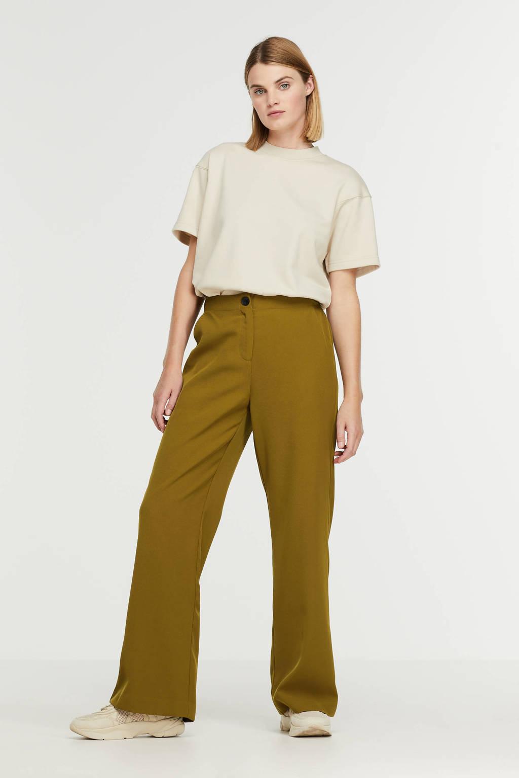 Ydence high waist wide leg pantalon Pants Solange olive, Olive