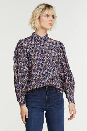 gebloemde blouse Blouse Dagmar blue flower