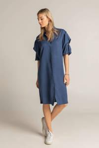 Expresso jurk Dress tencel puff sleeve met plooien donkerblauw, Donkerblauw