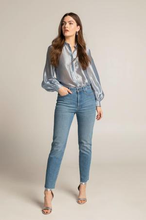 glanzende blouse lichtblauw