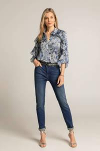 Expresso geweven blouse met all over print en volant lichtblauw/blauw/donkerblauw, Lichtblauw/blauw/donkerblauw