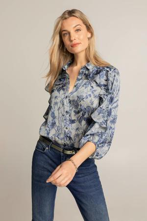 geweven blouse met all over print en volant lichtblauw/blauw/donkerblauw