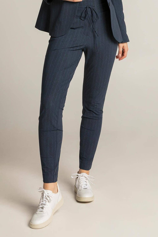 Expresso skinny broek met all over print donkerblauw/zwart, Donkerblauw/zwart