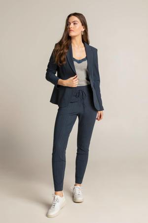 skinny broek met all over print donkerblauw/zwart