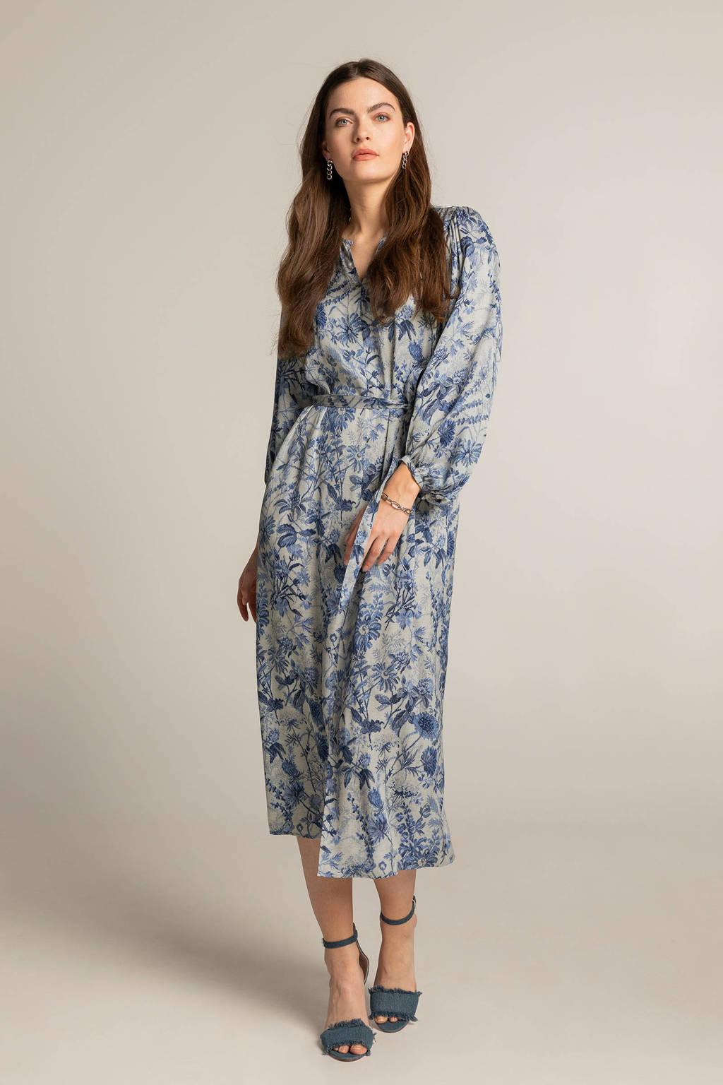 Expresso jurk met all over print en open detail lichtblauw/blauw/donkerblauw, Lichtblauw/blauw/donkerblauw