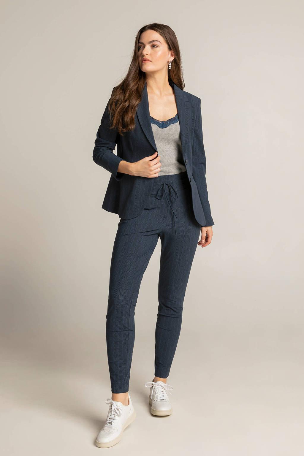 Expresso blazer met all over print donkerblauw/zwart, Donkerblauw/zwart