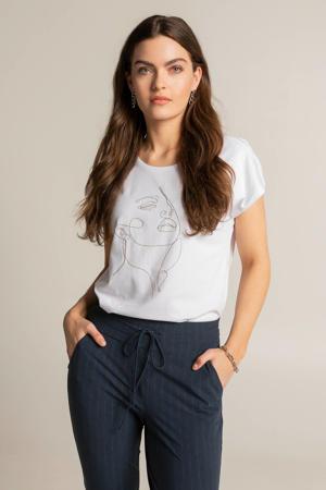 T-shirt met strass steentjes wit/zilver