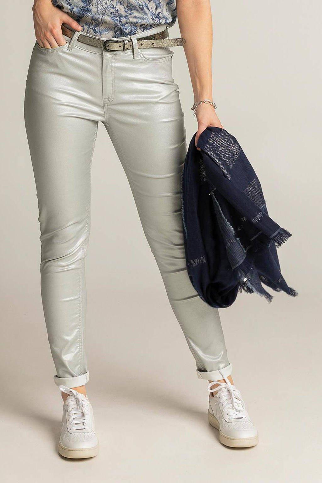 Expresso coated skinny broek zilver, Zilver